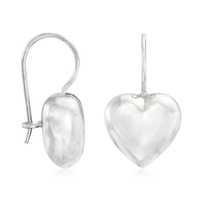 Italian Sterling Silver Heart Drop Earrings