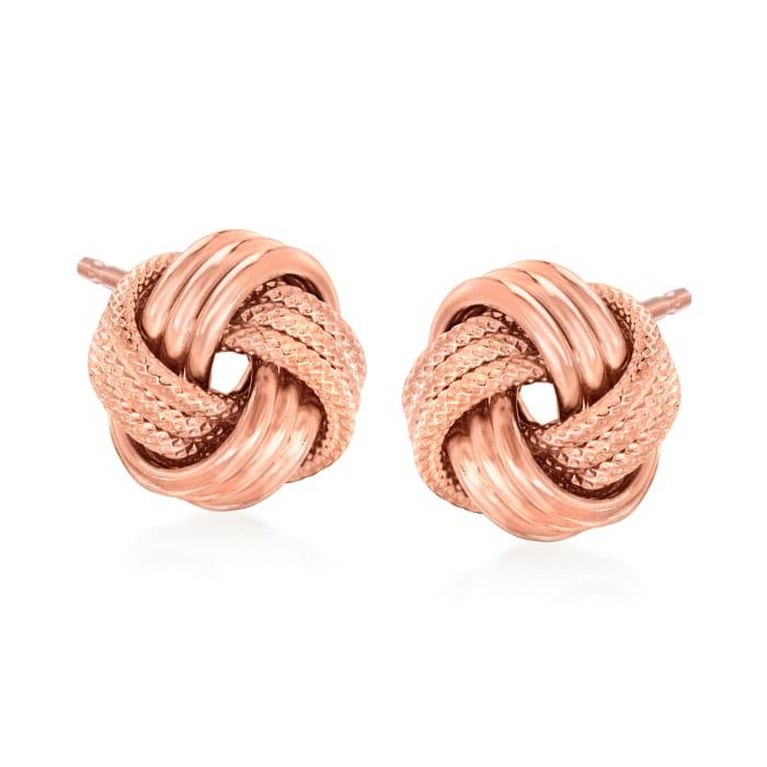 Italian 18kt Rose Gold Over Sterling Love Knot Earrings