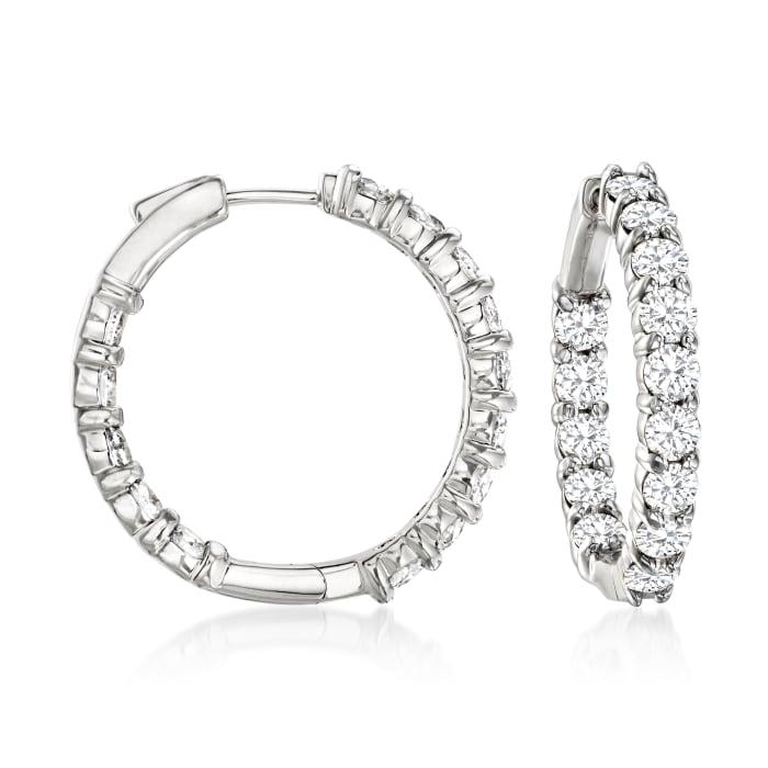 5.00 ct. t.w. Diamond Inside-Outside Hoop Earrings in 14kt White Gold
