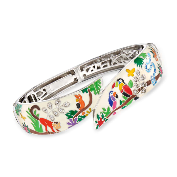 "Belle Etoile ""Tropical Rainforest"" Ivory and Multicolored Enamel Bangle Bracelet with .15 ct. t.w. CZs in Sterling Silver"