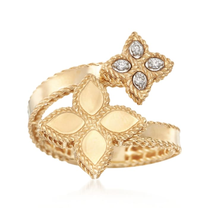 """Roberto Coin """"Princess"""" .17 ct. t.w. Diamond Flower Bypass Ring in 18kt Yellow Gold"""