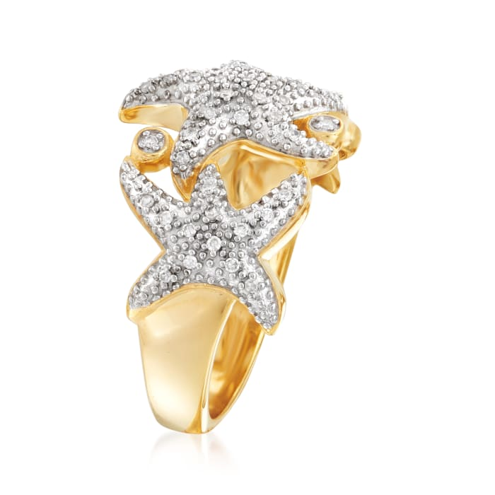 .15 ct. t.w. Diamond Multi-Starfish Ring in Sterling Silver and 18kt Gold Over Sterling