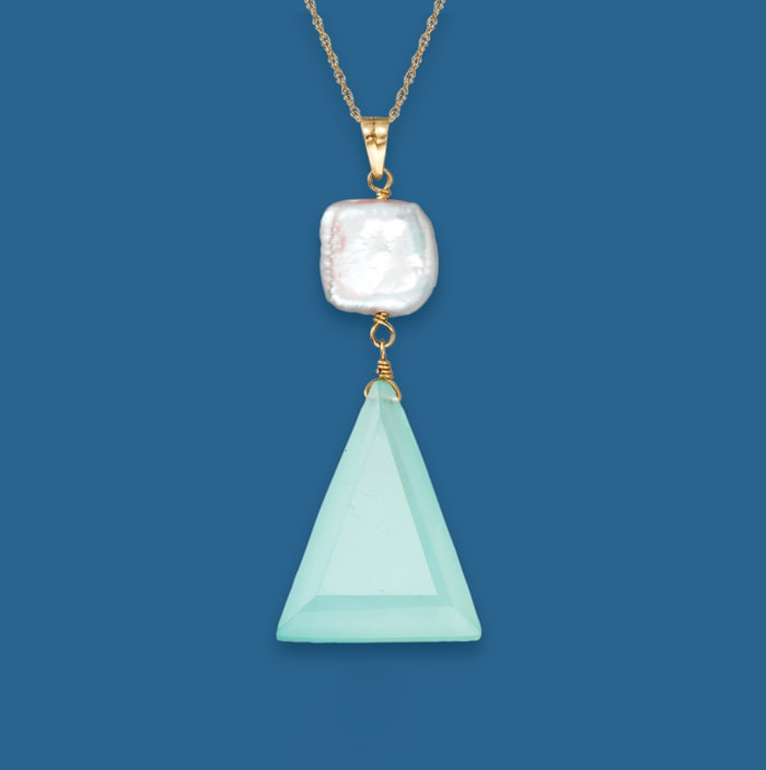 10x10mm Cultured Pearl and Blue Chalcedony Pendant Necklace in 14kt Yellow Gold