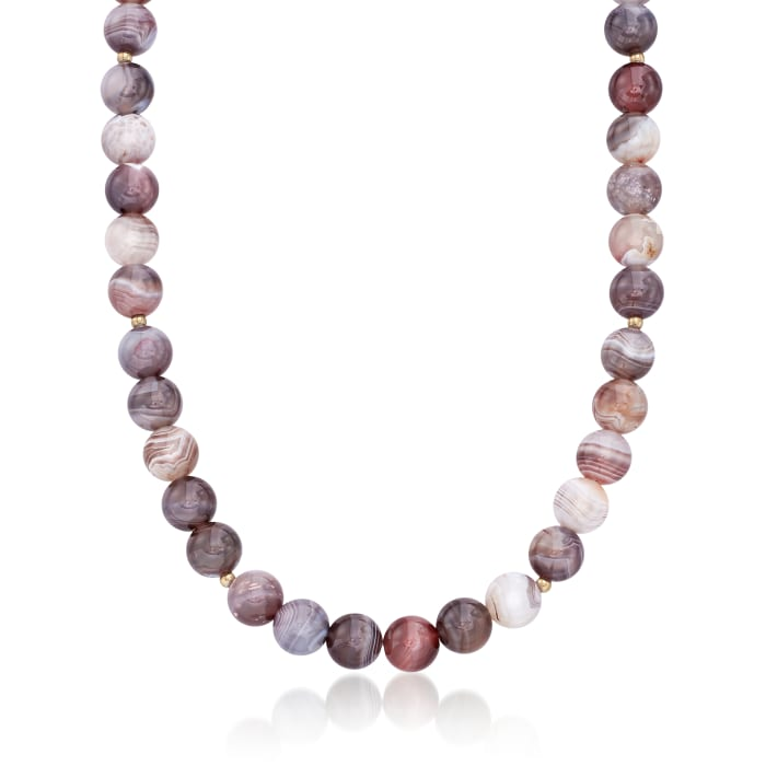 10mm Gray Botswana Agate Bead Necklace with 14kt Gold Over Sterling