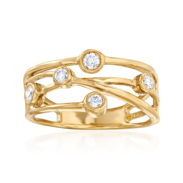.25 ct. t.w. Diamond Crisscross Ring in 18kt Gold Over Sterling