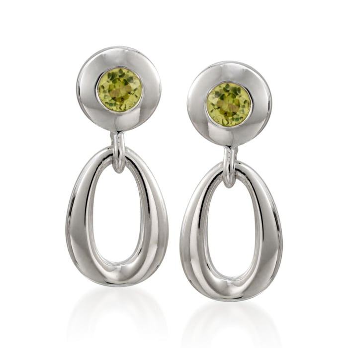 """Zina Sterling Silver """"Contemporary"""" .50 ct. t.w. Peridot Open Oval Drop Earrings"""