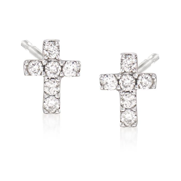 .11 ct. t.w. Diamond Cross Earrings in 14kt White Gold