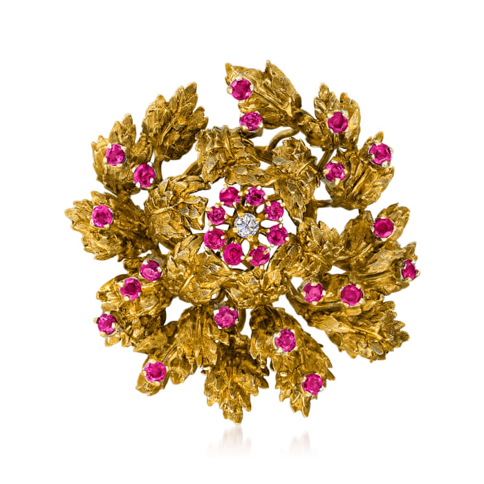 C. 1950 Vintage .15 Carat Diamond and 2.80 ct. t.w. Ruby Floral Pin in 14kt Yellow Gold