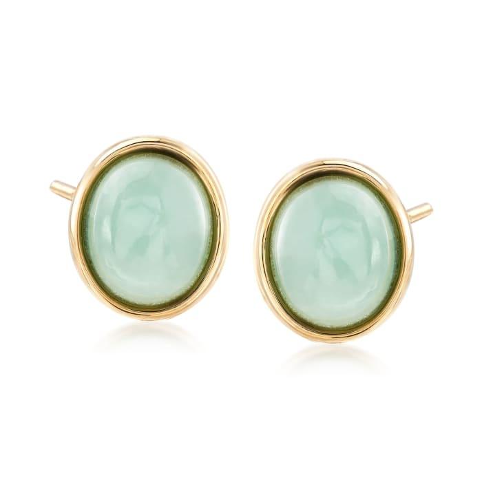 Jade Oval Stud Earrings in 14kt Yellow Gold