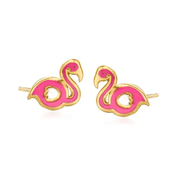14kt Yellow Gold Flamingo Stud Earrings with Multicolored Enamel