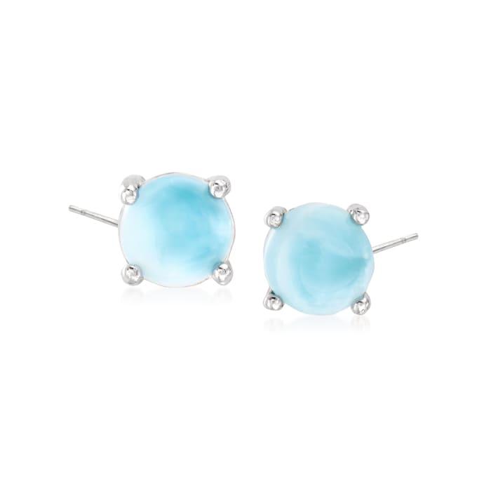 Larimar Round Earrings in Sterling Silver