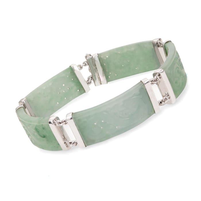 Jade Carved Dragon Bracelet in Sterling Silver