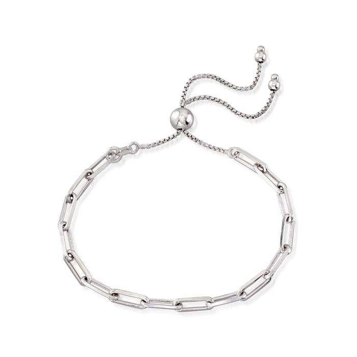 Italian Sterling Silver Paper Clip Link Bolo Bracelet