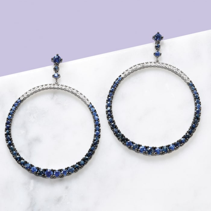 6.00 ct. t.w. Sapphire and .80 ct. t.w. Diamond Open Circle Drop Earrings in 18kt White Gold