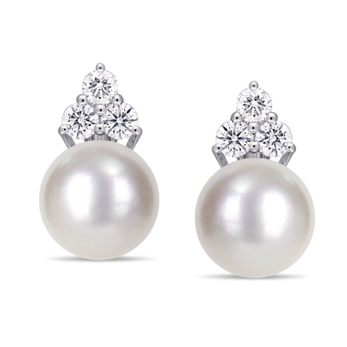 11-12mm Cultured South Sea Pearl and .96 ct. t.w. Diamond Earrings in 14kt White Gold