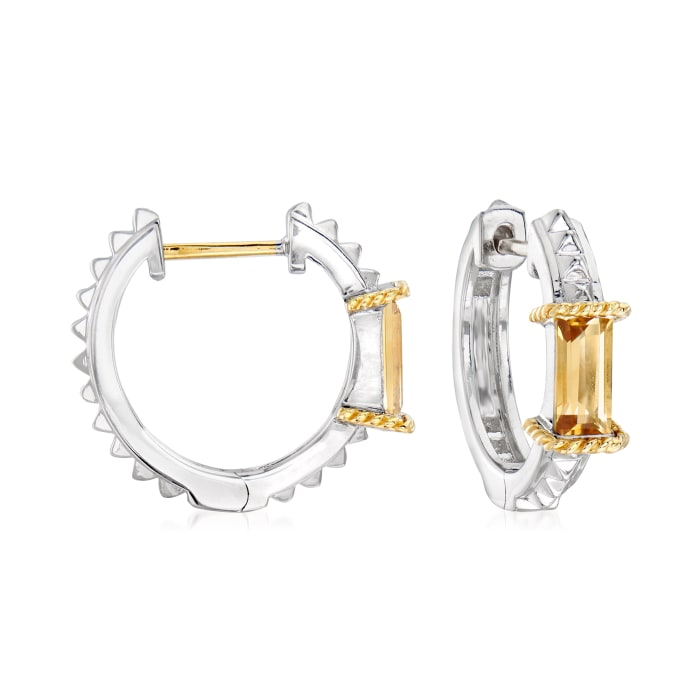"Andrea Candela ""La Romana"" .89 ct. t.w. Citrine Hoop Earrings in Sterling Silver and 18kt Yellow Gold"