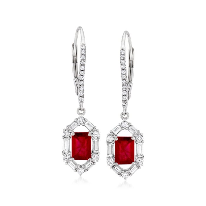 1.40 ct. t.w. Ruby and .63 ct. t.w. Diamond Drop Earrings in 18kt White Gold