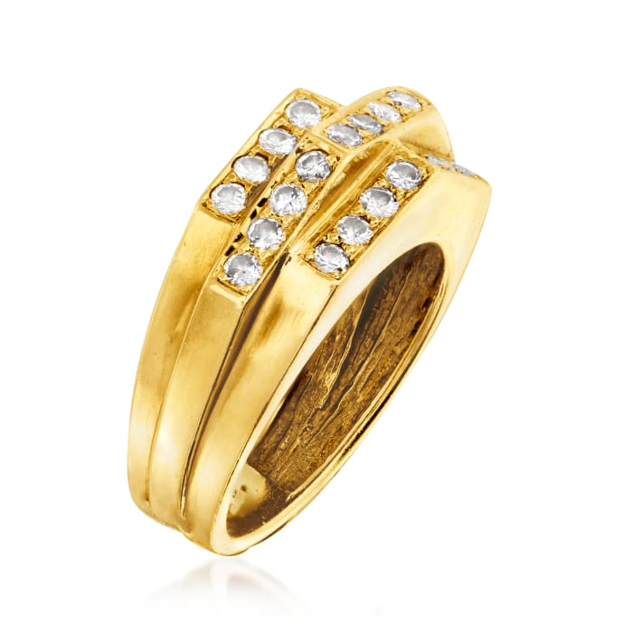 C. 1980 Vintage .75 ct. t.w. Diamond Section Ring in 18kt Yellow Gold