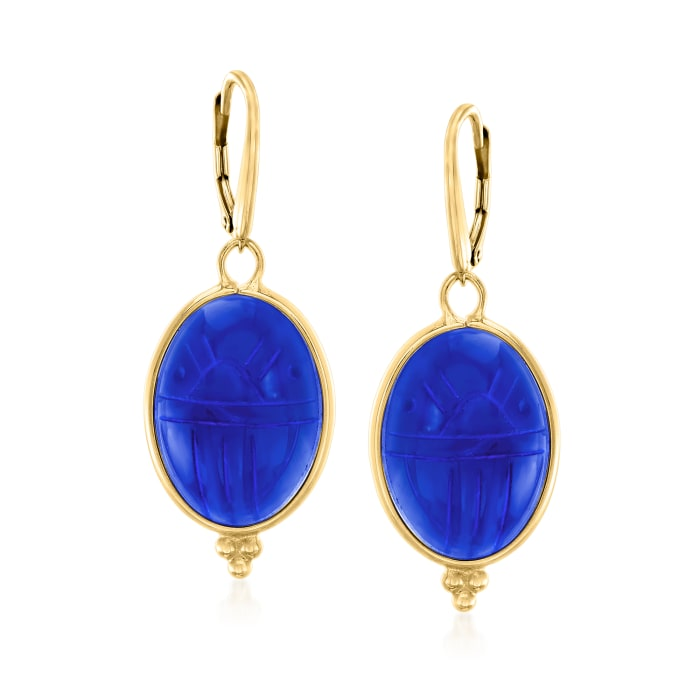 Blue Chalcedony Scarab Drop Earrings in 18kt Gold Over Sterling