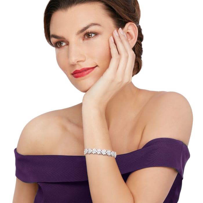 15.50 ct. t.w. Multi-Cut CZ Floral Bracelet in Sterling Silver