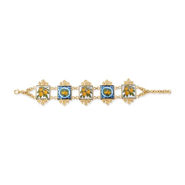 Italian Majolica Tile Bracelet in 18kt Gold Over Sterling