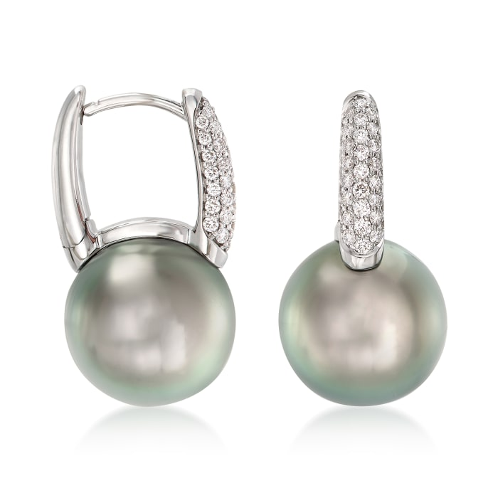 """Mikimoto """"Classic"""" 10mm A+ South Sea Pearl and .28 ct. t.w. Diamond Hoop Earrings in 18kt White Gold"""