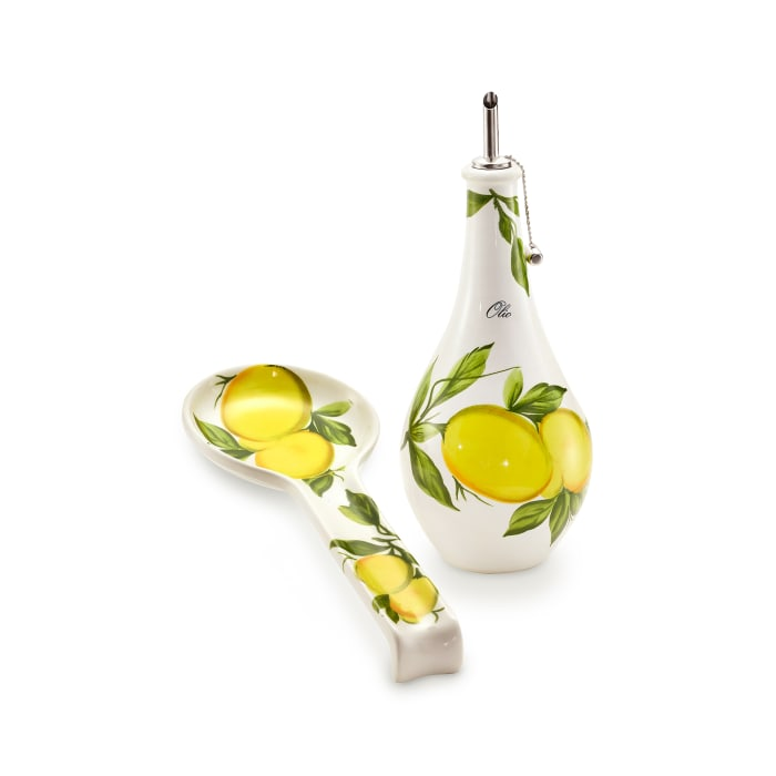 """Abbiamo Tutto """"Lemons"""" Oil Cruet and Spoon Rest Set from Italy"""