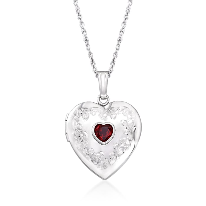 .50 Carat Birthstone Heart Locket Necklace in Sterling Silver 01-January 18-inch