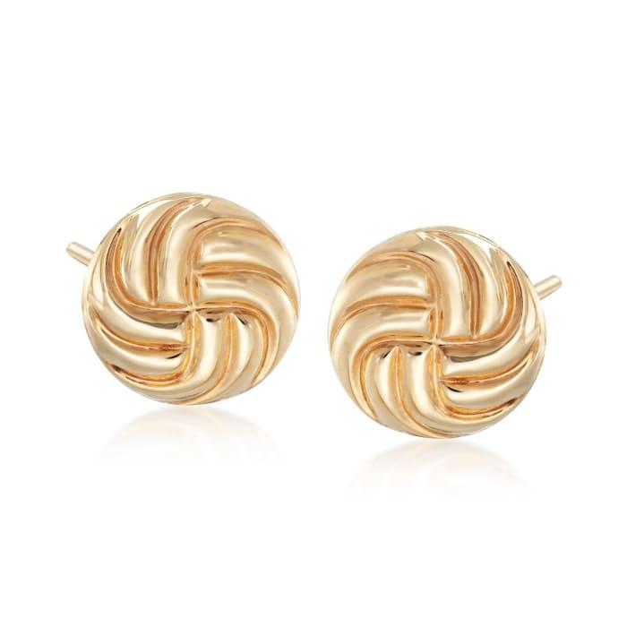 14kt Yellow Gold Swirl Button Stud Earrings