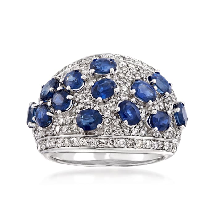3.20 ct. t.w. Sapphire and 1.15 ct. t.w. Diamond Dome Ring in 14kt White Gold