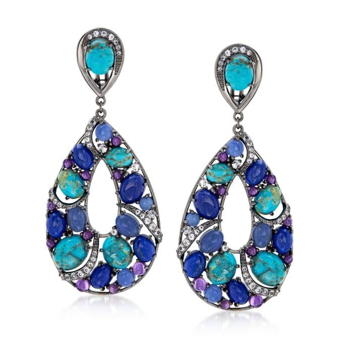Turquoise and Lapis Drop Earrings with 5.00 ct. t.w. Multi-Stones in Sterling Silver