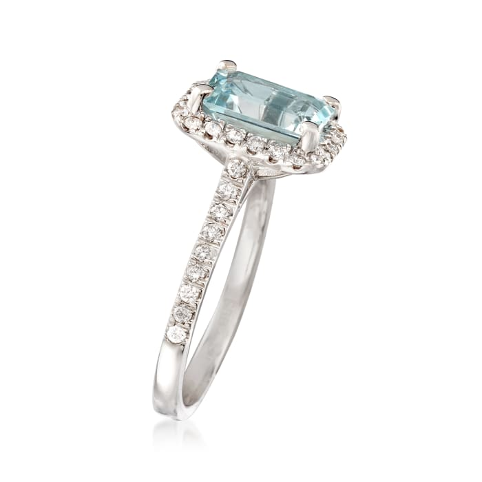 2.00 Carat Aquamarine and .40 ct. t.w. Diamond Ring in 14kt White Gold