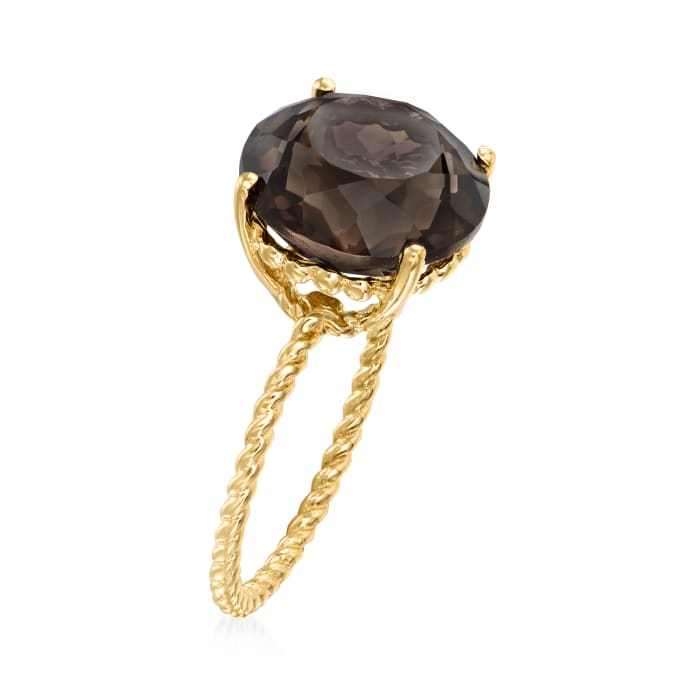 5.50 Carat Smoky Quartz Twist Rope Ring in 14kt Yellow Gold