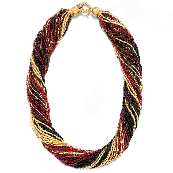Italian Red, Black and Gold Murano Glass Bead Torsade Necklace in 18kt Gold Over Sterling
