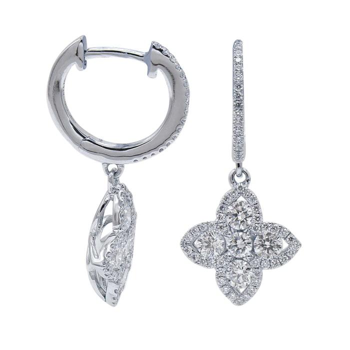 1.06 ct. t.w. Diamond Flower Hoop Drop Earrings in 18kt White Gold