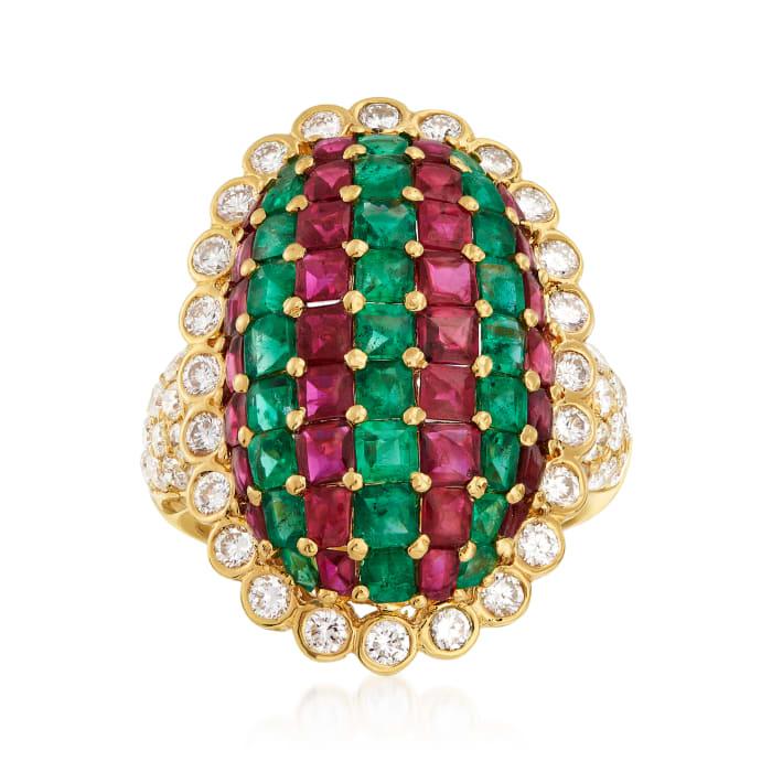 C. 1980 Vintage 4.25 ct. t.w. Ruby, 2.35 ct. t.w. Emerald and 1.52 ct. t.w. Diamond Shield Ring in 18kt Yellow Gold