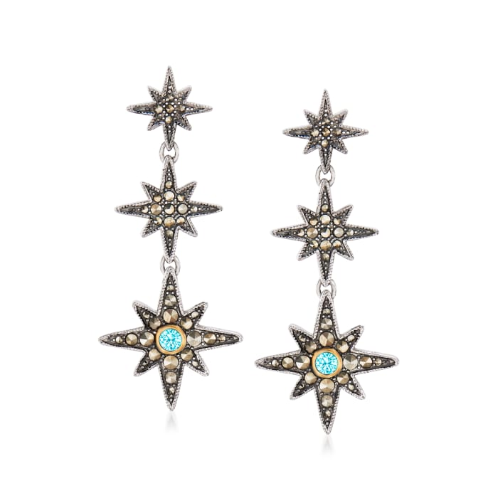 1-1.75mm Marcasite and .30 ct. t.w. Swiss Blue Topaz Star Drop Earrings in Sterling Silver and 14kt Yellow Gold