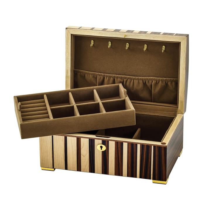 Maple Wood with Ebony Veneer Locking Jewelry Box