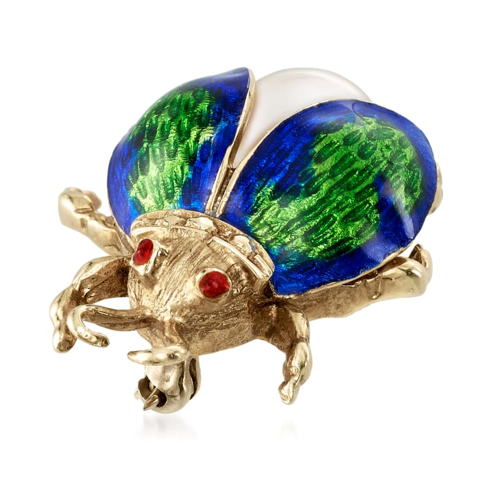 C. 1980 Vintage 9mm Cultured Pearl and Enamel Bug Pin in 14kt Yellow Gold