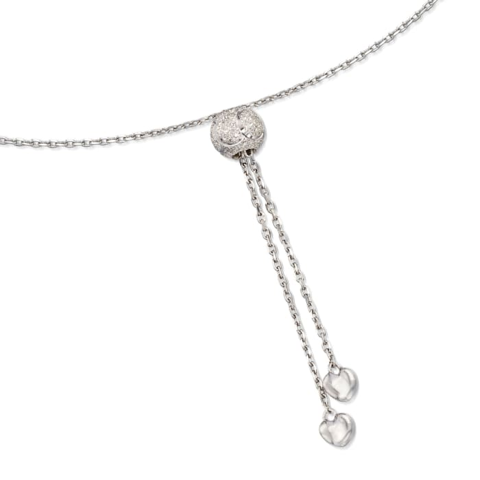 Sterling Silver Curved Bar Bolo Necklace with Diamond Accents