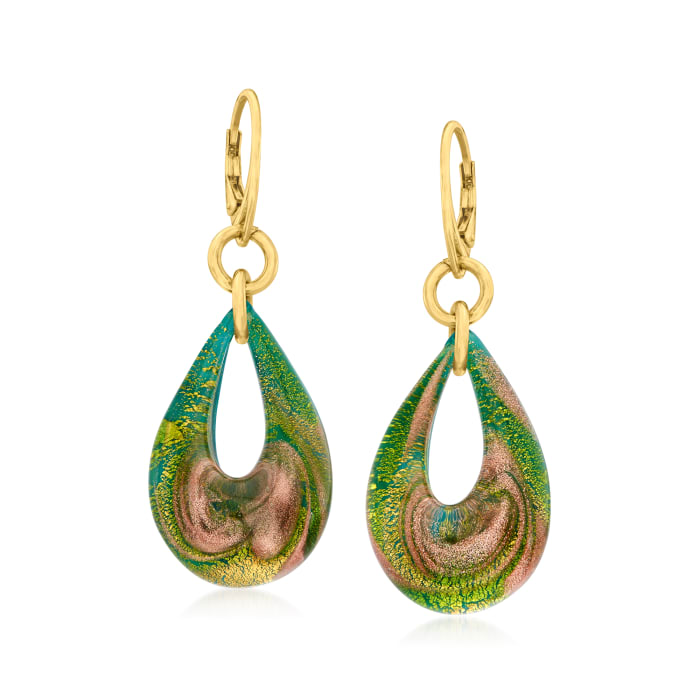 Italian Green and Metallic Murano Glass Teardrop Earrings in 18kt Gold Over Sterling