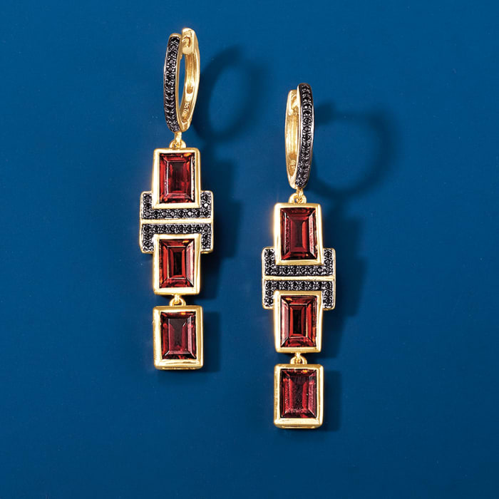 6.50 ct. t.w. Garnet and .20 ct. t.w. Black Spinel Drop Earrings in 18kt Gold Over Sterling