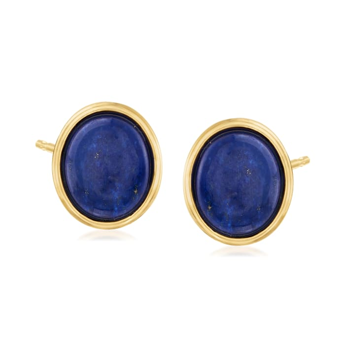Oval Lapis Earrings in 14kt Yellow Gold