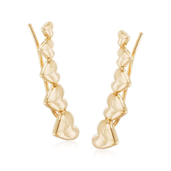 14kt Yellow Gold Heart Ear Climbers