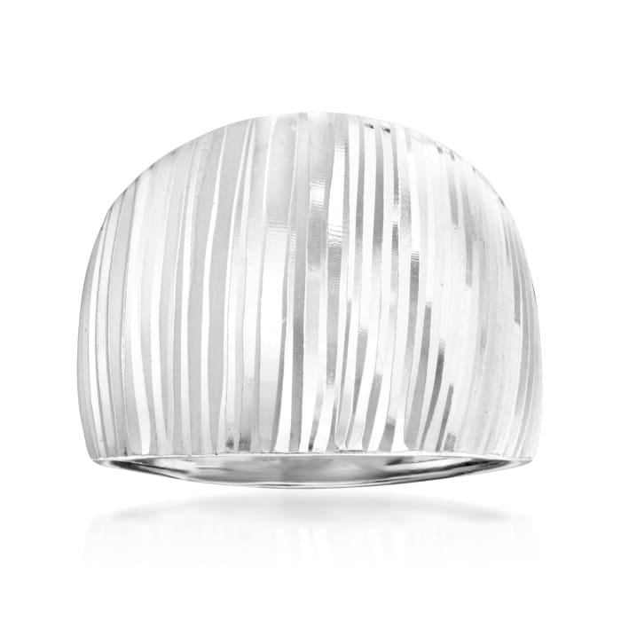 Sterling Silver Stripe Dome Ring