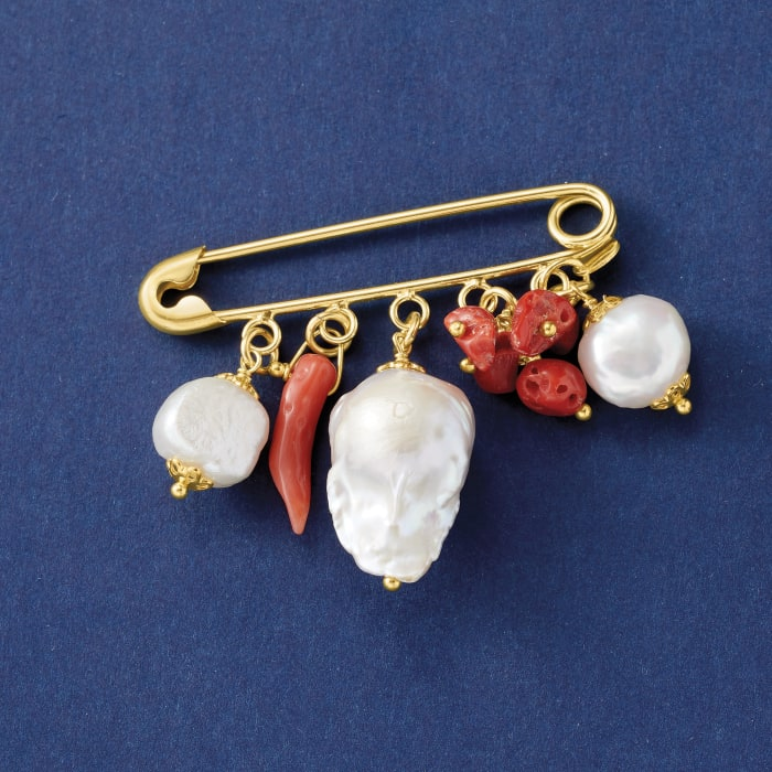 Italian 20x14mm and 11-12mm Cultured Pearl and Coral Drop Safety Pin in 18kt Gold Over Sterling