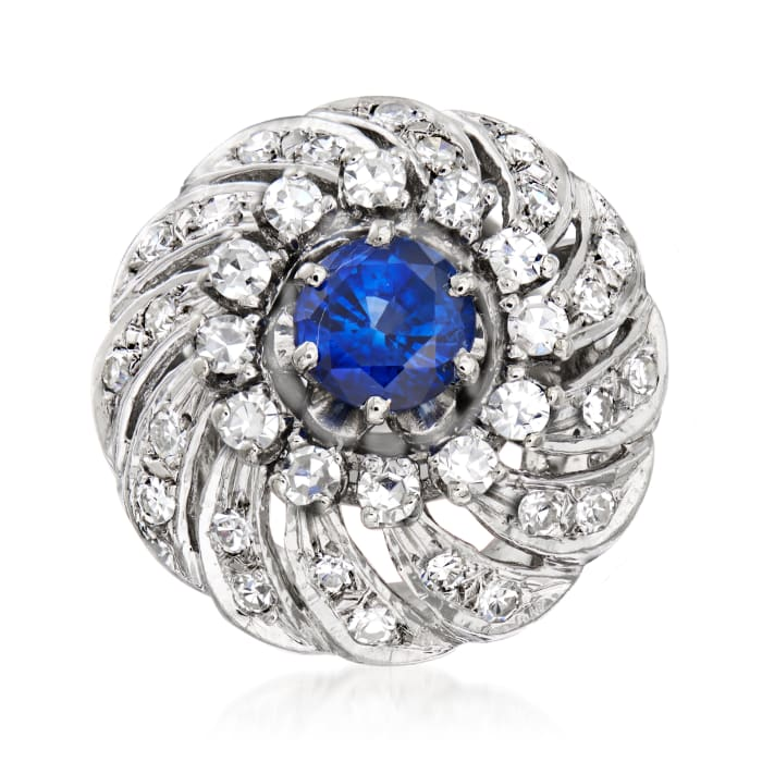C. 1960 Vintage 1.25 Carat Sapphire and .85 ct. t.w. Diamond Swirl Ring in 14kt White Gold