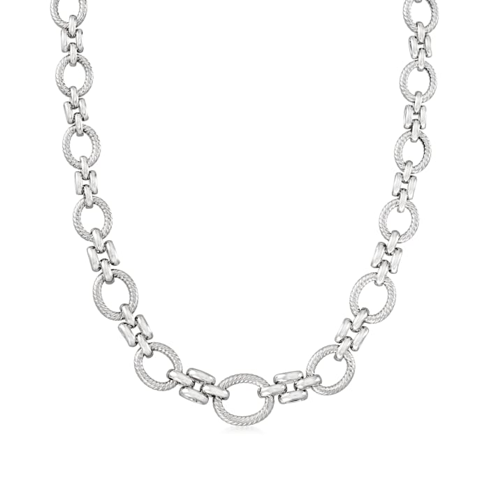 Sterling Silver Twisted Oval-Link Necklace