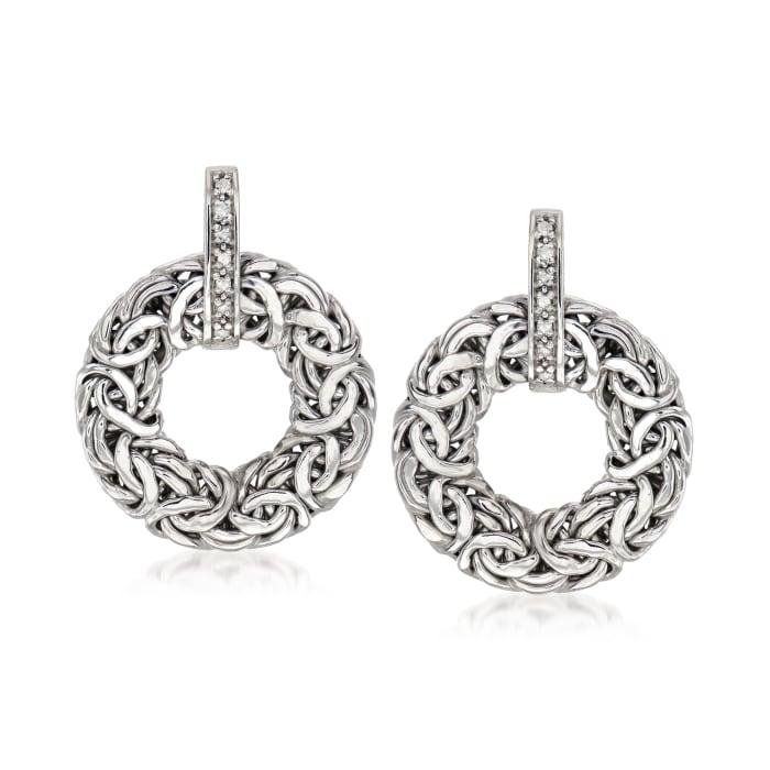 .14 ct. t.w. Diamond Byzantine Doorknocker Earrings in Sterling Silver