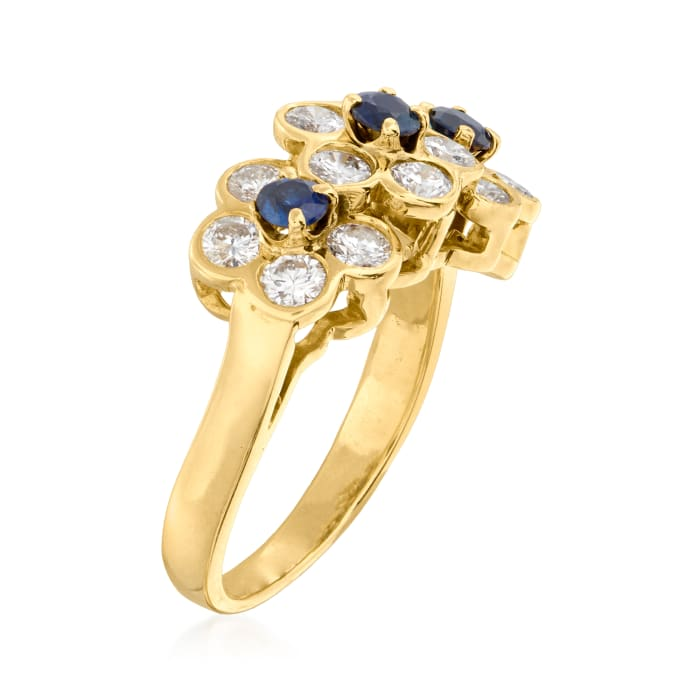 C. 2000 Vintage Van Cleef & Arpels 1.05 ct. t.w. Diamond and .45 ct. t.w. Sapphire Flower Ring in 18kt Yellow Gold